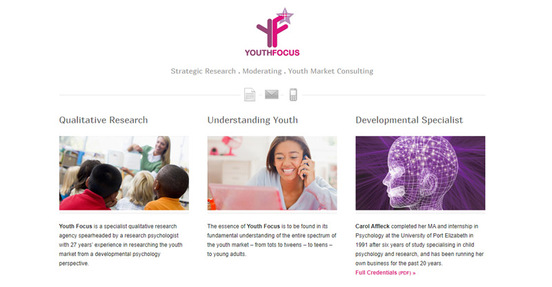 Youth Focus / YF Research - website by TraciDesign